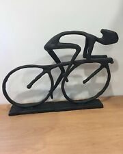 Large Metal Cyclist Sculpture Indoor Home Centerpiece Cycling Sport Ornament