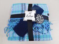 Echo Design Plaid Scarf & Headband Earwarmers Winter Wear Gift Set Blue #5786