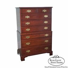 Henkel Harris Solid Cherry Chippendale Style Tall Chest on Chest