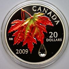 CANADA 2009 Color $20 Fine Silver Maple Leaf Autumn w/Swarovski Crystal