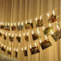 FA- 10LED Photo Card Clip String Fairy Light Wedding Home Wall Hanging Decor Hea