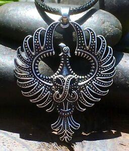 Silver Plate Viking Phoenix Pendant Necklace