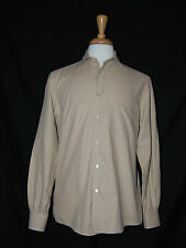 Mens Ermenegildo Zegna Soft Long Sleeve Shirt Beige Button Front Medium