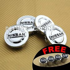 SET OF 4 SILVER CHROME WHEEL HUB CAP CENTER COVER LOGO BADGE CREST NISSAN 54mm