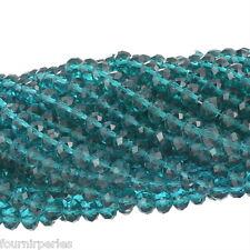 70 Perles cristal verre Facette Rondelle Bleu canard 8mm B09097(épaisseur 6.3mm)