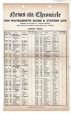 News Chronicle 1934 Wacelength Guide / Radio Broadcasting
