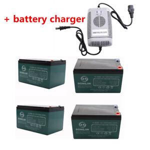 4 x 12V 12Ah 6-DZM-12 SLA Battery + Charger EBike Go Kart Razor Scooter ATV Dirt