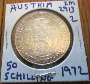 Austria 50 Schilling Silver Coin 1972 350th Anniversary Salzburg University # 2