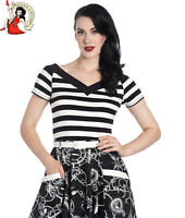 HELL BUNNY CAITLIN 50s TOP style NAUTICAL sailor BLACK OFF-WHITE STRIPED XS-4XL
