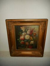 Old oil painting, { Beautiful still life with pretty flowers, nice frame }.