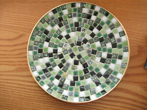 Vintage Mosaic plate /bowl. Handmade. 1970s. kitch