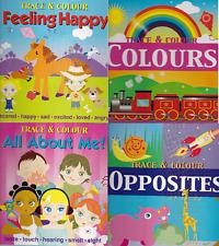 Children'S Stencil Trace & Colour Activity Learning Pre-School Books X 4