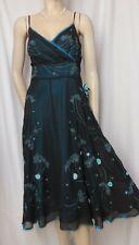 Laura Ashley Seidenkleid 42 schwarz petrol blau grün Cocktail Hochzeit Abend