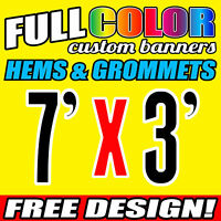 Custom 16oz Vinyl/Flex Banner Outdoor Premium Quality Advertising Sign 7' x 3'