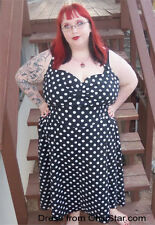 Cotton Blend Polka Dot Machine Washable Plus Size Dresses for Women