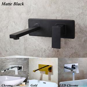 Matte Black/Gold/Chrome LED Bathroom Basin Mixer Tub Faucet Wall Mount Brass Tap