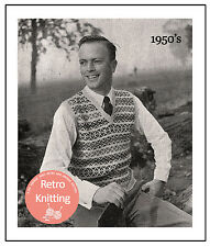 1950s Fair Isle Pullover in 2 Sizes Vintage Knitting Pattern Copy