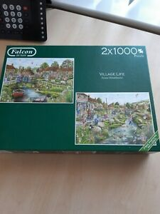 Falcon Deluxe Village Life 2x1000 piece jigsaws WFAPRKJP3