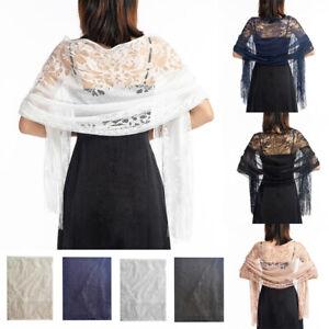 Soft Lace Wrap Wedding Wrap Pashmina Tulle Evening Party Shawl Wrap Scarf UK New
