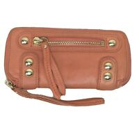 Linea Pelle Womens Leather Zip-Around Bifold Wallet Coral / Pumpkin Soft Leather