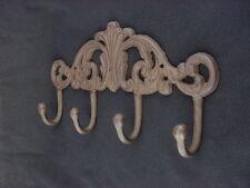 """Large 12"""" Heavy Duty Ornamental Iron Coat Rack 4 Hooks Wall Hook Gear Hat"""