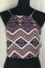 Express Tank Crop Top Shirt Medium Pink Geometric Print Open Tie Back Sleeveless
