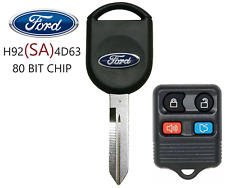 NEW FORD H92 SA 80 BIT OEM TRANSPONDER CHIP KEY + 4 BUTTON REMOTE BEST QUALITY