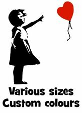 BANKSY GIRL WITH BALLOON heart shaped & floating Vinyl wall art  sticker decal