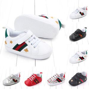 Newborn Baby Boy Girl Pram Shoes Toddler Pre Walker White Sneakers Trainers 0-12