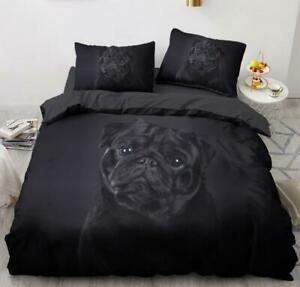 3D Pure Black Puppy Pug ZHUB82 Bed Pillowcases Quilt Duvet Cover Queen King Amy