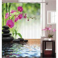 Bath Shower Curtain Bathroom Waterproof Fabric 3D Bamboo Printed w/Hooks US