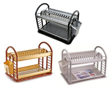 2 Tier Round Plastic Bowl Plate Dish Drainer Drying Rack with Cutlery Holder