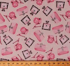 Stilettos Shoes Purses Girls Glitter Pink Cream Cotton Fabric Print BTY D361.07