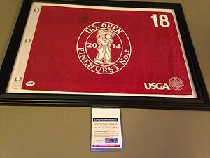 Jordan Spieth 2014 US Open Signed Pinehurst Red #18 PSA/DNA Flag Framed