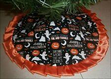 "Tabletop Halloween Tree Skirt - 24"" ~ Jackolanterns, Ghosts, Bats & Sayings +"