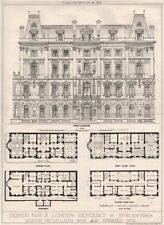 Design for a London residence by W. Hilton Nash. Soane Medallion 1875 print