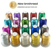 New brothread 20 Colours Metallic Embroidery Machine Thread Kit 500M (550Y) Each
