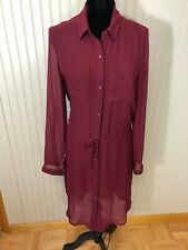 NWT Old Navy - Womens M - Wine  Polyester L/S Button Up Drawstring Shirt Dress