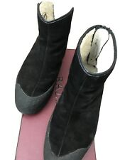 Bally Winter Boots Eu 43 Vintage Sheep Shearling Lined Black Suede W/ Gum Sole