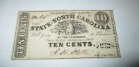 $.10 1866 Raleigh North Carolina NC Obsolete Currency Bank Note Bill! UNC! Ten