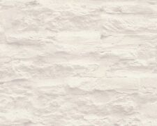 Vinyl Papier schöner Wohnen Steinoptik Tapete creme weiß