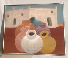 VTG LARGE Southwest SAND PAINTING Jugs And Adobe House Sgd L Pat
