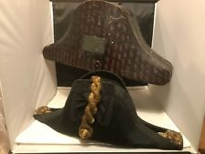 More details for royal british naval bicorn hat with original tin hat box  by gillott & hasell