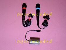 2 ORIGINALE ps2 & ps3 SINGSTAR MICROFONI USB & adattatore _ OTTIME CONDIZIONI