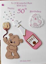Personalised handmade card grand daughter mum wife niece 18th 21st 30th 40th 50