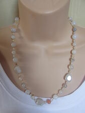 Lola Rose Grey Beige Cream Multi Semi Precious Stones Bead Necklace & Pouch NEW