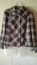 Chicos 1 Medium Jacket Lined Black Red White Plaid Button Front EUC Gorgeous