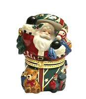 Porcelain Santa Claus Hinged Keepsake Decorative Box Vtg Christmas Decor SALE