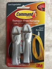 3m CAVO COMANDO insaccatrici Confezione da 2-Danno Gratuito Appeso per organizzare i Wire