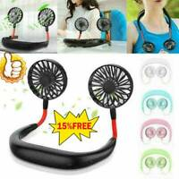 Portable USB Rechargeable Neckband Dual Cooling Mini Fan Lazy Neck Hanging Hot
